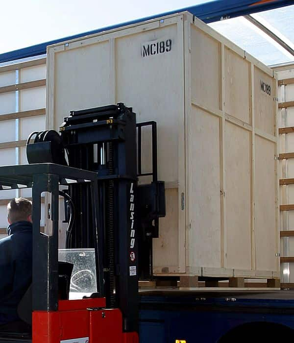 Containerised storage being loaded onto our lorry